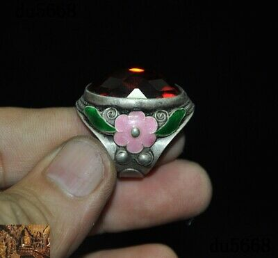 Chinese Tibetan silver inlay Zircon gem flower Ancient Amulet periapt Ring Rings