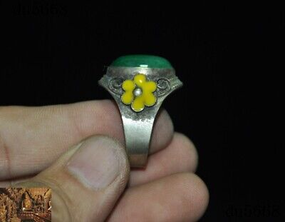 Old Chinese Tibet silver inlay green jade gem Ancient Amulet periapt Ring Rings