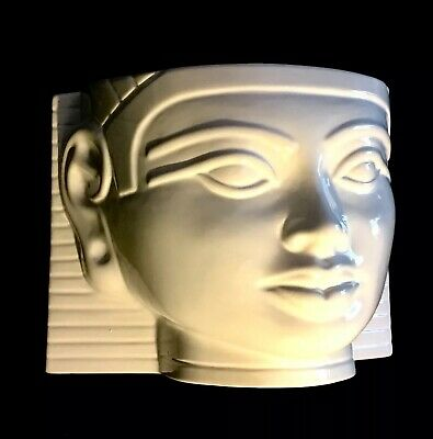 Egyptian Pharaoh Tutankhamen Hollywood Regency Mid Century 1970s Ceramic Planter