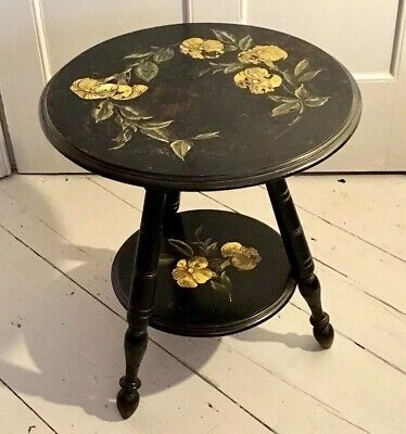 c1880 AESTHETIC MOVEMENT EBONISED PAINTED OCCASIONAL CARD GAMES GYPSY TABLE