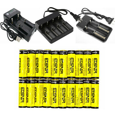 LOT 18650 Battery 3.7V 9900mAh Li-Ion Rechargeable Charger +Smart charger USA
