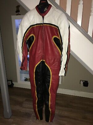 Vintage 1970's TT Leathers Barry Sheene Replica Motorcycle Suit.
