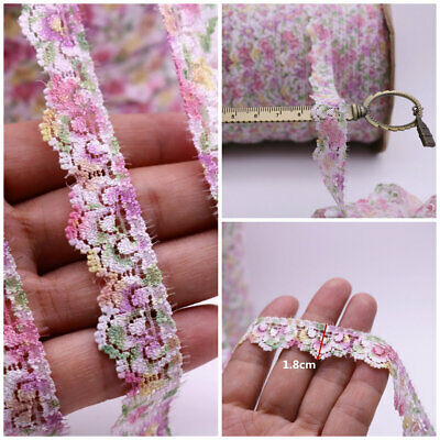 10 Yards Colorful Flower Elastic Lace Trim Trims Ribbon DIY Dress Sewing 1.8cm