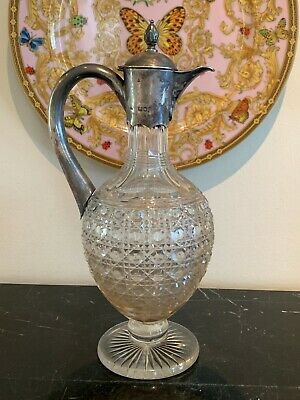 Antique 1800's Charles Boyton Victorian Silver and Cut Glass Claret Jug