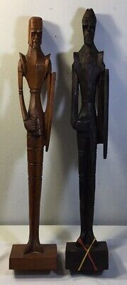 Tall Hand Carved Wood Mexican Folk Art Warriors Estate Find