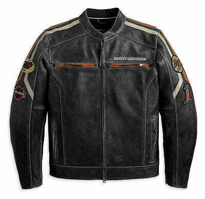 New Mens HD Retro Harley Davidson Distressed Motorcycle Cowhide Leather Jacket