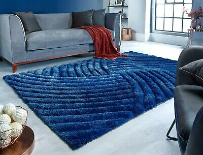 Small - Large Heavyweight Dark Blue Thick Soft Carved Pile 3D Verge Furrow Rug