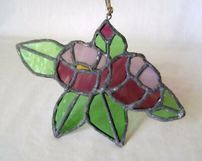 Stained Glass Leaded Panel to hang in window: Suncatcher: Roses: Flowers