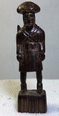 "ANTIQUE  HAND CARVED WOOD FOLK ART FIGURE OF A MAN ESTATE FIND 3 3/8"" Tall"