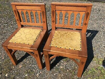 20Th C Antique Arts & Crafts / Mission Oak Craftsman Real Church Chairs