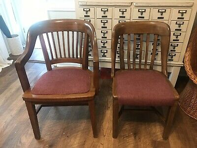 Vintage Banker Chair Armchairs Solid Wood With  Upholstery Sold Each 295