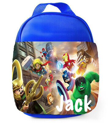 Personalised Boys Marvels Lego Superheros School Lunch Bag Insulated Childrens