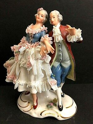 Porcelain Group couple male female Gallantly stroll & walk Vienna shield Dresden