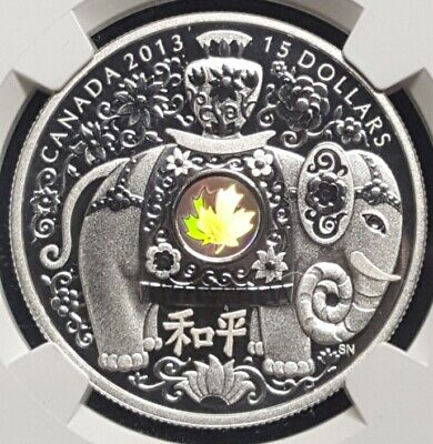 2013 Canada $15 MAPLE OF PEACE SILVER ELEPHANT PROOF HOLOGRAM  NGC PF70 UC