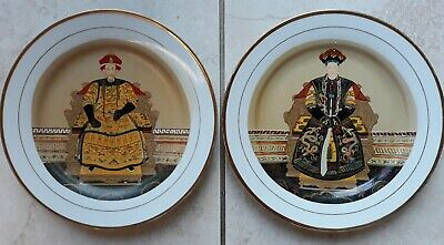 Vintage Antique Chinese Ancestral Hand Painted Enameled Porcelain Plates