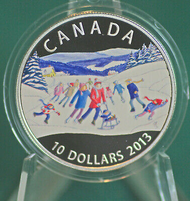 2013 CANADA Winter Scene Colourized $10 99.99% silver - coin only