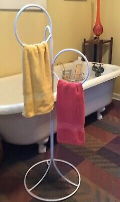 Vtg Retro Mid Century Wh. Bathroom Metal Wire Stand Towel Lingerie Drying Rack