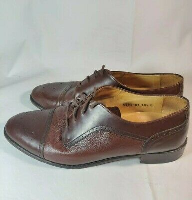 83744927dbad8 MENS VITO RUFOLO 4393-02 Sz 12M Brown Leather Lace Up Cap Toe ...
