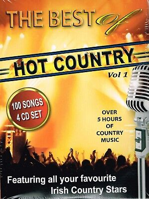 """HOT COUNTRY Brand New """"The Best of Hot Country Vol 1"""" 100 Songs 4 CD Set - IRISH"""