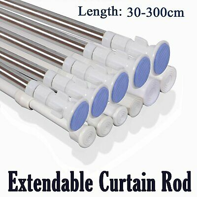 Spring Loaded Extendable Telescopic Bath Net Voile Tension Curtain Rail Pole Rod