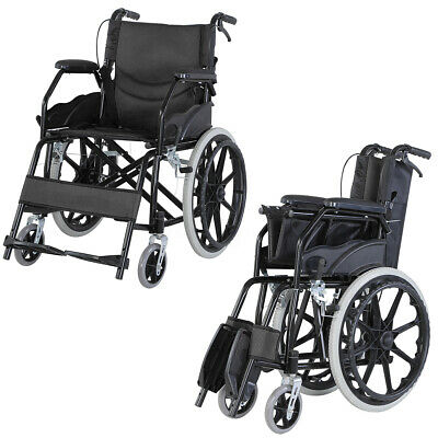"20"" Foldable Wheelchair Lightweigt Trolley Manual Mobility Footrest Backrest Aid"