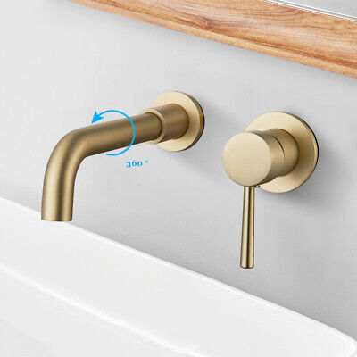 Brushed Gold Bathroom Basin Sink Faucets Single Handles Mixer Tub Tap Wall Mount