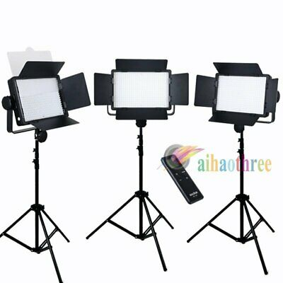 3Pcs GODOX LED500W White Version LED Studio Video Light + Remote + Light Stand