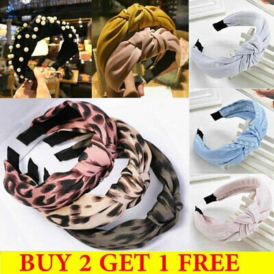 Women Fabric Headband Leopard Print Band Top Knot Pearl Headband Twist Hairband