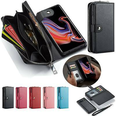 Zip Flip Cards Leather Wallet Case Detachable Magnetic Cover For iPhone Samsung