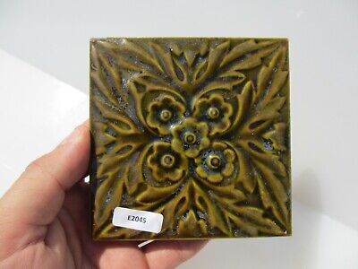 Antique Ceramic Tile Vintage Floral Flower Gilt Leaf Art Nouveau Flowers Old 4""
