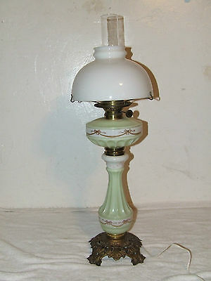 "Antique 1800's STERN BROS. New York Victorian Porcelain Ceramic Banquet 30"" Lamp"