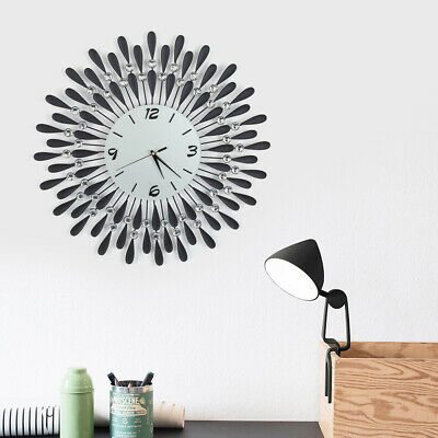 60Cm Metal Wall Clock Black Sunflower Art Spiked Wall Clock Beaded Jeweled Decor