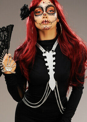 Womens Day of The Dead Silver Skeleton Body Harness