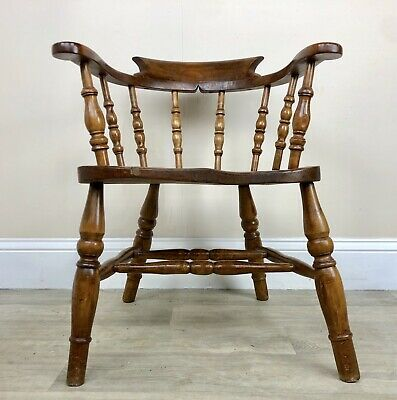 Stunning Shape Antique Smokers Bow, Captains Chair, Beech Y57