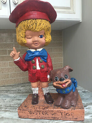 Buster Brown And Tige Esco Style Statue Rare 1972 Piece