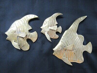 Vintage Solid Brass Set 3 Fish Wall Hanging Plaques Tropical Beachy Nautical