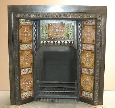 Victorian Tiled Cast Iron Fire Insert Fire Brick And Stool Available Sep Fi0035