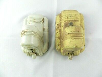 Vintage Set of 2 Paulding Porcelain Wall Sconce Deco Bathroom Light w Plug