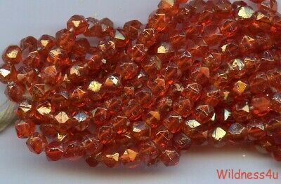 ANTIQUE ENGLISH CUT Glass BEADS ORANGE Fire & GOLD Sparks Rough Cuts 4mm lot