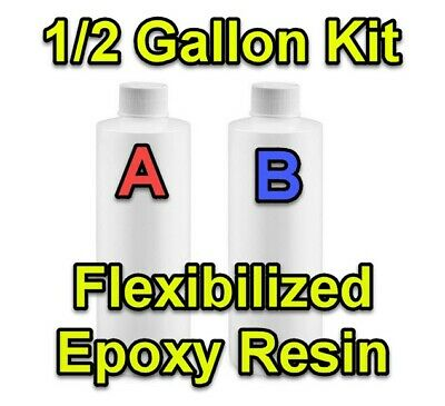 1/2 GALLON 1:1 Flex Epoxy Resin KIT Custom Flooring Surface Clear Glossy
