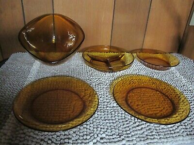 Vintage Duralex from France Amber set of 5 Glass ( bowl and Plates) !!!