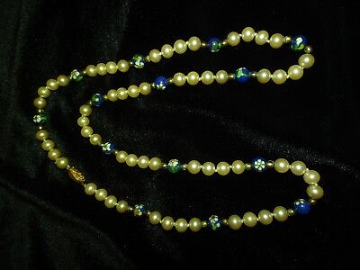 Vintage Chinese Cloisonne Jade Enamel Glass Faux Pearl Sterling Silver Necklace