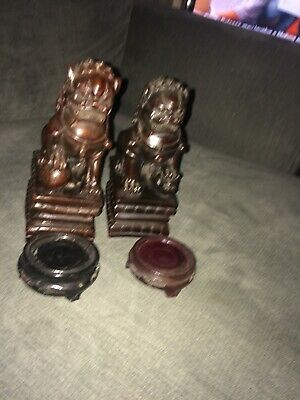 Temple Dogs  Oriental Dark Red Resin X2
