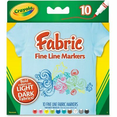 Crayola Bright Fabric Markers - Broad Marker Point - Black, Blue, Brown, White,