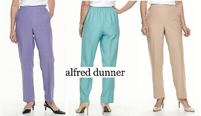 NEW Women's Alfred Dunner Studio Classic Fit Pants Pull On Elastic Waist Petite