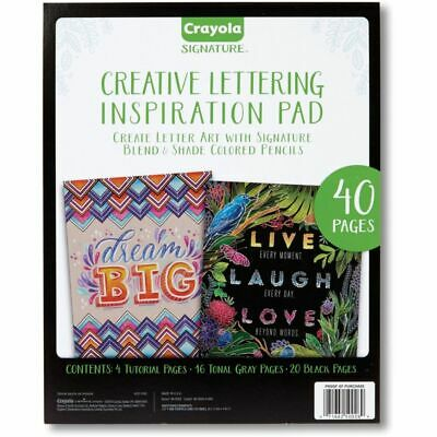 Crayola Creative Lettering Inspiration Pad - 40 Pages - Black, Gray Paper - 1Eac