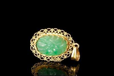 Old Chinese Carved Apple Green Translucent Jadeite 14K Gold Pendant D116-01