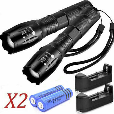20000LM Police Tactical T6 LED 5 Modes 18650 Flashlight Zoomable Lamp Light