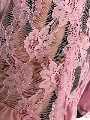 Vintage 70s Nylon Babydoll Pink Sheer Silky Satin Frilly Lace Val Mode Sz S USA