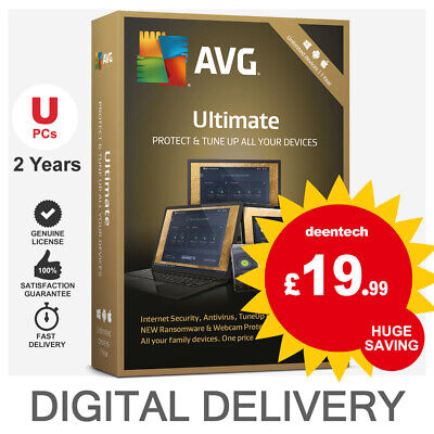 AVG Ultimate 2019 (Unlimited Device/2Years) Antivirus TuneUp & Internet Security